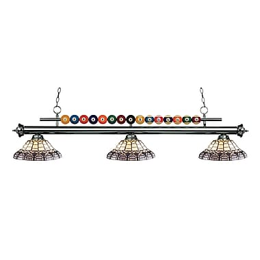 Z-Lite 170GM-H14-4 Shark Island/Billiard Light Fixture, 3 Bulb, Multi-Coloured Tiffany