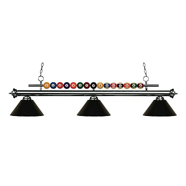 Z-Lite 170GM-PBK Shark Island/Billiard Light Fixture, 3 Bulb, Black