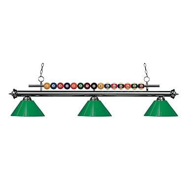 Z-Lite – Luminaire suspendu Shark pour îlot/table de billard 170GM-PGR, 3 amp., vert