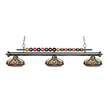 Z-Lite 170GM-Z14-34 Shark Island/Billiard Light Fixture, 3 Bulb, Multi-Coloured Tiffany
