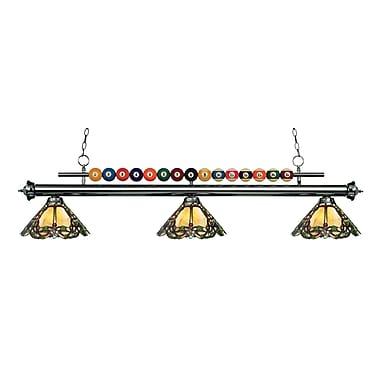 Z-Lite – Luminaire suspendu Shark pour îlot/table de billard 170GM-Z14-37, 3 amp., Tiffany multicolore