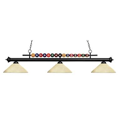 Z-Lite – Luminaire suspendu Shark pour îlot/table de billard 170MB-AGM14, 3 amp., marbre doré