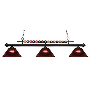 Z-Lite – Luminaire suspendu Shark pour îlot/table de billard 170MB-ARBG, 3 amp., acrylique bourgogne