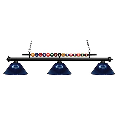 Z-Lite – Luminaire suspendu Shark pour îlot/table de billard 170MB-ARDB, 3 amp., acrylique bleu foncé