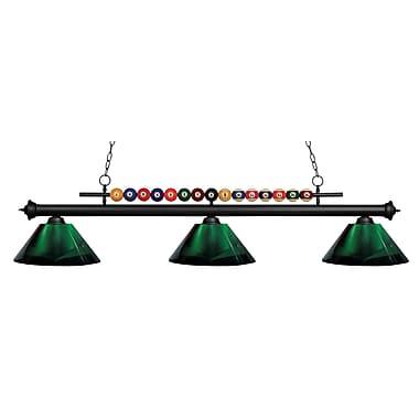 Z-Lite – Luminaire suspendu Shark pour îlot/table de billard 170MB-ARG, 3 amp., acrylique vert