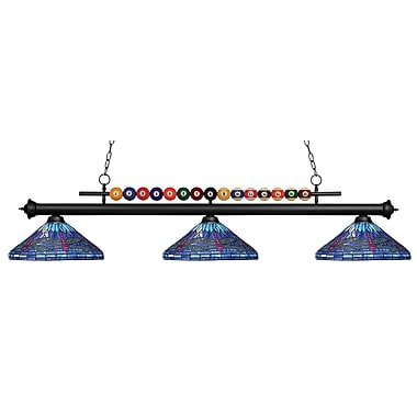 Z-Lite – Luminaire suspendu Shark pour îlot/table de billard 170MB-D16-1, 3 amp., Tiffany multicolore