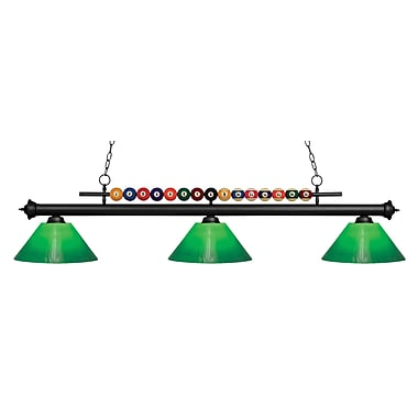 Z-Lite 170MB-GCG14 Shark Island/Billiard Light Fixture, 3 Bulb, Green Cased