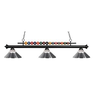 Z-Lite – Luminaire suspendu Shark pour îlot/table de billard 170MB-RCH, 3 amp., verre strié transparent et chrome