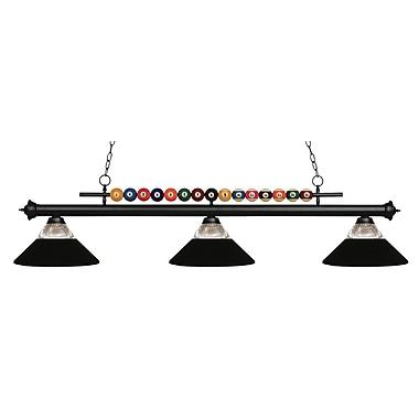 Z-Lite – Luminaire suspendu Shark pour îlot/table de billard 170MB-RMB, 3 amp., verre strié transparent et métal noir mat