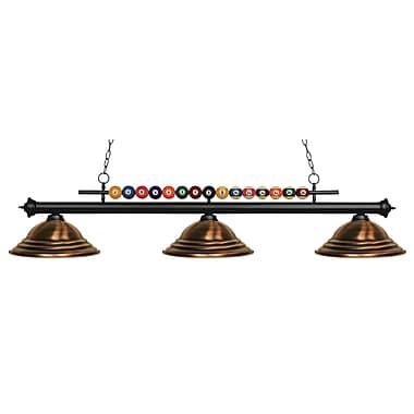 Z-Lite – Luminaire suspendu Shark pour îlot/table de billard 170MB-SAC, 3 amp., cuivre antique à relief