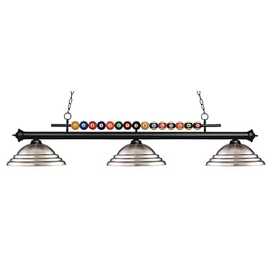 Z-Lite 170MB-SBN Shark Island/Billiard Light Fixture, 3 Bulb, Stepped Brushed Nickel