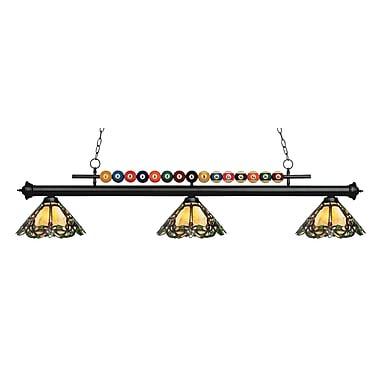 Z-Lite – Luminaire suspendu Shark pour îlot/table de billard 170MB-Z14-37, 3 amp., Tiffany multicolore