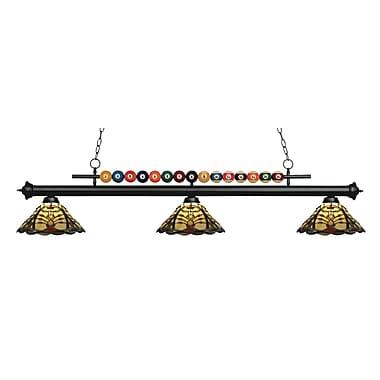 Z-Lite – Luminaire suspendu Shark pour îlot/table de billard 170MB-Z14-46, 3 amp., Tiffany multicolore