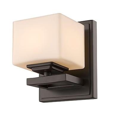 Z-Lite 1914-1S-BRZ Cuvier Wall Sconce Light Fixture, 1 Bulb, Matte Opal