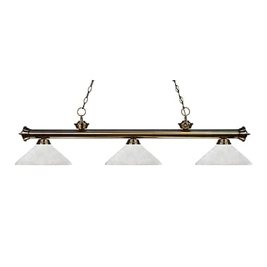 Z-Lite 200-3AB-AWL14 Riviera Antique Brass Island/Billiard Light Fixture, 3 Bulb, Angle White Linen