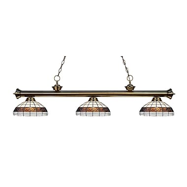 Z-Lite 200-3AB-F14-1 Riviera Antique Brass Island/Billiard Light Fixture, 3 Bulb, Multi-Coloured Tiffany