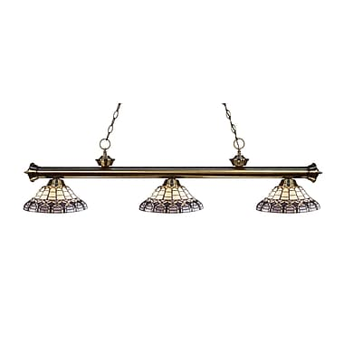 Z-Lite – Luminaire suspendu Riviera au fini laiton antique pour îlot/table de billard 200-3AB-H14-4, 3 amp., Tiffany multicolore
