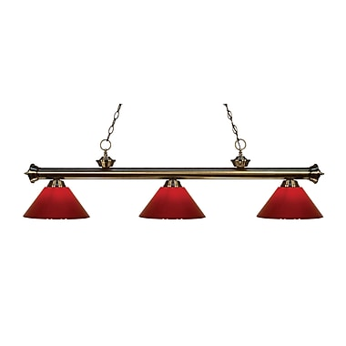 Z-Lite 200-3AB-PRD Riviera Antique Brass Island/Billiard Light Fixture, 3 Bulb, Red