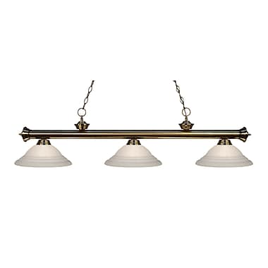 Z-Lite 200-3AB-SW16 Riviera Antique Brass Island/Billiard Light Fixture, 3 Bulb, White Swirl