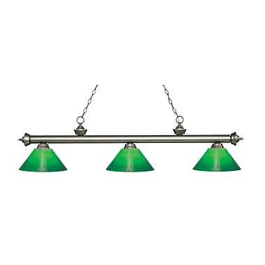 Z-Lite 200-3AS-GCG14 Riviera Antique Silver Island/Billiard Light Fixture, 3 Bulb, Green Cased