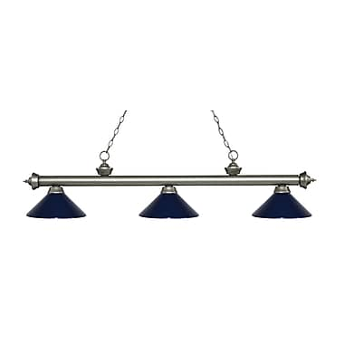 Z-Lite 200-3AS-MNB Riviera Antique Silver Island/Billiard Light Fixture, 3 Bulb, Navy Blue