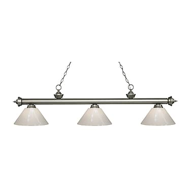 Z-Lite 200-3AS-PWH Riviera Antique Silver Island/Billiard Light Fixture, 3 Bulb, White