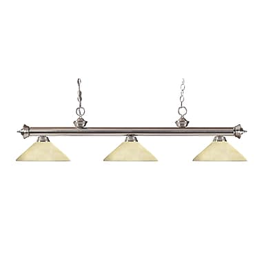 Z-Lite 200-3BN-AGM14 Riviera Brushed Nickel Island/Billiard Light Fixture, 3 Bulb, Angle Golden Mottle
