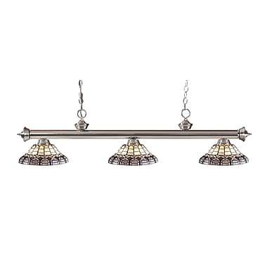 Z-Lite 200-3BN-H14-4 Riviera Brushed Nickel Island/Billiard Light Fixture, 3 Bulb, Multi-Coloured Tiffany