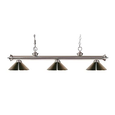 Z-Lite 200-3BN-MBN Riviera Brushed Nickel Island/Billiard Light Fixture, 3 Bulb, Brushed Nickel