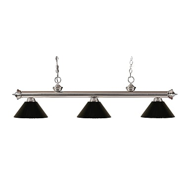 Z-Lite 200-3BN-PBK Riviera Brushed Nickel Island/Billiard Light Fixture, 3 Bulb, Black
