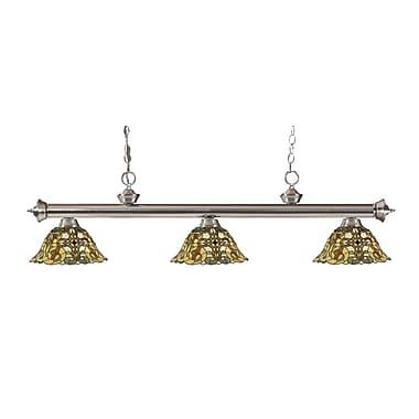 Z-Lite – Luminaire suspendu Riviera au fini nickel brossé 200-3BN-R14A, 3 amp., Tiffany multicolore