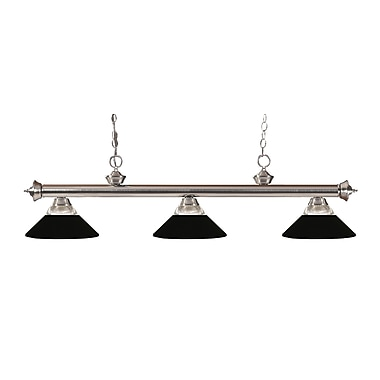Z-Lite 200-3BN-RMB Riviera Brushed Nickel Island/Billiard Light Fixture, 3 Bulb, Clear Ribbed Glass and Metal Matte Black