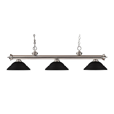 Z-Lite – Luminaire suspendu Riviera au fini nickel brossé pour îlot/table de billard 200-3BN-SMB, 3 amp., noir mat à relief