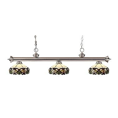 Z-Lite 200-3BN-Z14-33 Riviera Brushed Nickel Island/Billiard Light Fixture, 3 Bulb, Multi-Coloured Tiffany