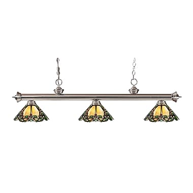 Z-Lite 200-3BN-Z14-37 Riviera Brushed Nickel Island/Billiard Light Fixture, 3 Bulb, Multi-Coloured Tiffany