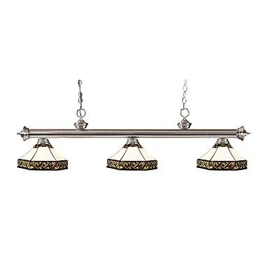 Z-Lite – Luminaire suspendu Riviera au fini nickel brossé 200-3BN-Z16-30, 3 amp., Tiffany multicolore