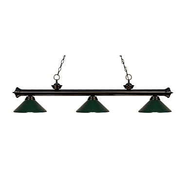 Z-Lite 200-3BRZ-MDG Riviera Bronze Island/Billiard Light Fixture, 3 Bulb, Dark Green