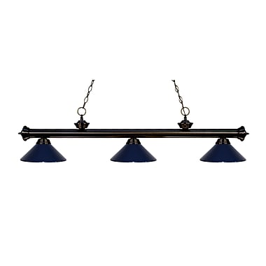 Z-Lite 200-3BRZ-MNB Riviera Bronze Island/Billiard Light Fixture, 3 Bulb, Navy Blue