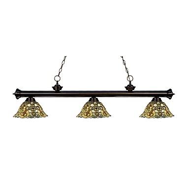 Z-Lite – Luminaire suspendu Riviera au fini bronze 200-3BRZ-R14A, 3 amp., Tiffany multicolore