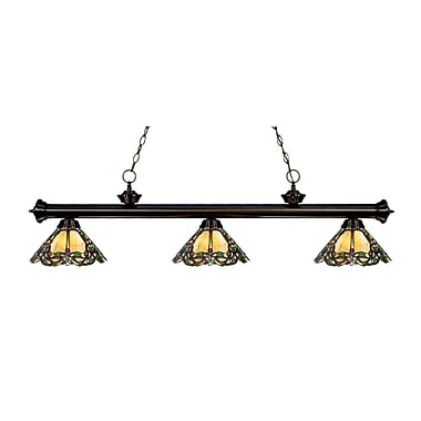 Z-Lite 200-3BRZ-Z14-37 Riviera Bronze Island/Billiard Light Fixture, 3 Bulb, Multi-Coloured Tiffany