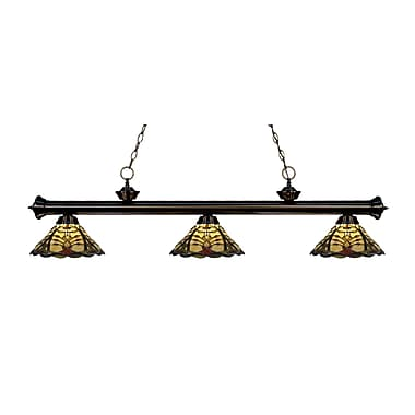 Z-Lite 200-3BRZ-Z14-46 Riviera Bronze Island/Billiard Light Fixture, 3 Bulb, Multi-Coloured Tiffany