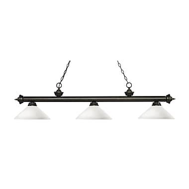 Z-Lite – Luminaire suspendu Riviera au fini bronze doré pour îlot/table de billard 200-3GB-AMO14, 3 amp., opale mate