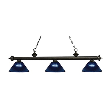 Z-Lite 200-3GB-ARDB Riviera Golden Bronze Island/Billiard Light Fixture, 3 Bulb, Dark Blue