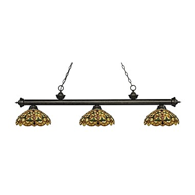 Z-Lite 200-3GB-C14 Riviera Golden Bronze Island/Billiard Light Fixture, 3 Bulb, Multi-Coloured Tiffany