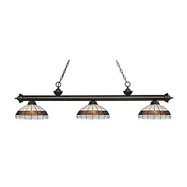 Z-Lite – Luminaire suspendu Riviera au fini bronze doré 200-3GB-F14-1, 3 amp., Tiffany multicolore