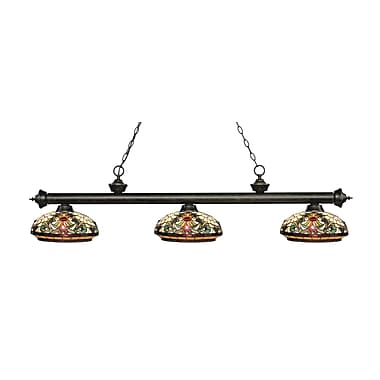 Z-Lite 200-3GB-Z14-34 Riviera Golden Bronze Island/Billiard Light Fixture, 3 Bulb, Multi-Coloured Tiffany