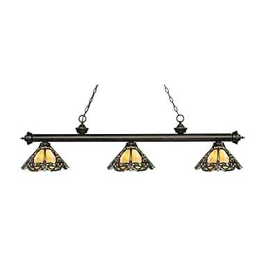 Z-Lite – Luminaire suspendu Riviera au fini bronze doré 200-3GB-Z14-37, 3 amp., Tiffany multicolore