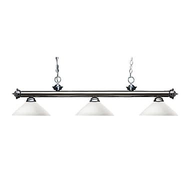 Z-Lite – Luminaire suspendu Riviera au fini gris métallique pour îlot/table de billard 200-3GM-AMO14, 3 amp., opale mate