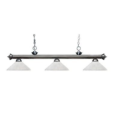 Z-Lite – Luminaire suspendu Riviera au fini gris métallique pour îlot/table de billard 200-3GM-AWL14, 3 amp., lin blanc