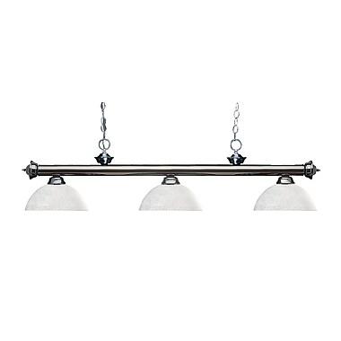 Z-Lite – Luminaire suspendu Riviera au fini gris métallique 200-3GM-DWL14, 3 amp., dôme, lin blanc